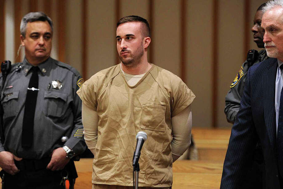 Kyle Navin appears Tuesday at a presentment at the Fairfield County Courthouse in Bridgeport. He has been charged with murdering his parents, Jeffrey and Jeanette Navin, owners of J&J Refuse in Westport. Photo: Autumn Driscoll / Autumn Driscoll / Westport News
