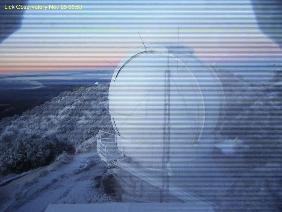 Cameras on the Lick Observatory recorded the overnight snowfall on Mount Hamilton in San Jose on Nov, 25, 2015. Photo: Lick Observatory