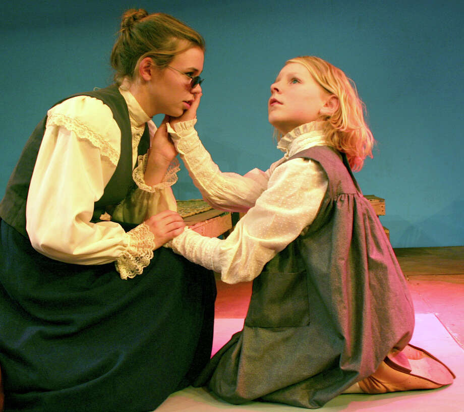"Emma LaPlace portrays Annie Sullivan and Nora Watson is Helen Keller in the Westport Community Theatre's production of ""The Miracle Worker."" Photo: Contributed Photo / Westport News"