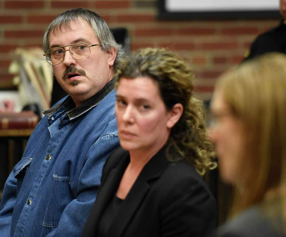 Arthur Gannon 47, formerly of Corinth, left stands with his attorney Danielle Neroni, center during his arraignment in Saratoga County Court Tuesday afternoon Nov. 24, 2015 in Ballston Spa, N.Y.    (Skip Dickstein/Times Union) Photo: SKIP DICKSTEIN / 10034407A
