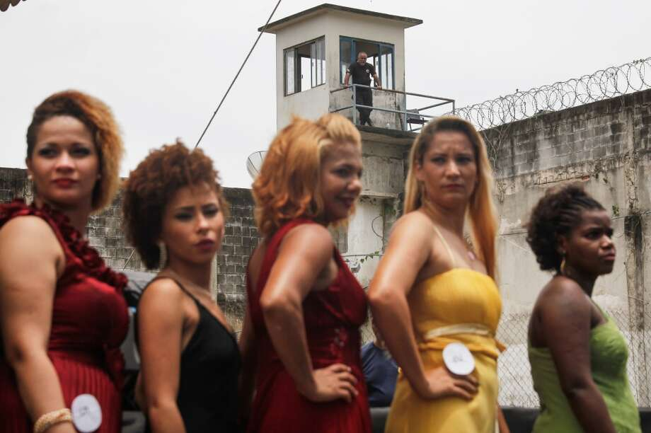 Inmate contestants stand during the annual beauty pageant at the Talavera Bruce women's prison on November 24, 2015 in Rio de Janeiro, Brazil.  Keep clicking to learn more about this yearly event. Photo: Mario Tama, Getty Images