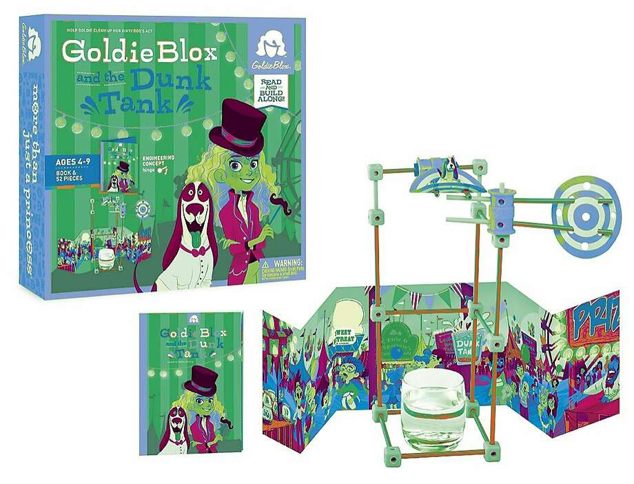 This photo provided by GoldieBlox shows Goldie Blox and the Dunk Tank, a building kit and assembled toy. Goldie, her dog Nacho and her friends encounter situations they must solve by building simple machines. The GoldieBlox kits are aimed at young girls, teaching early engineering concepts. (AP Photo/GoldieBlox) Photo: Associated Press