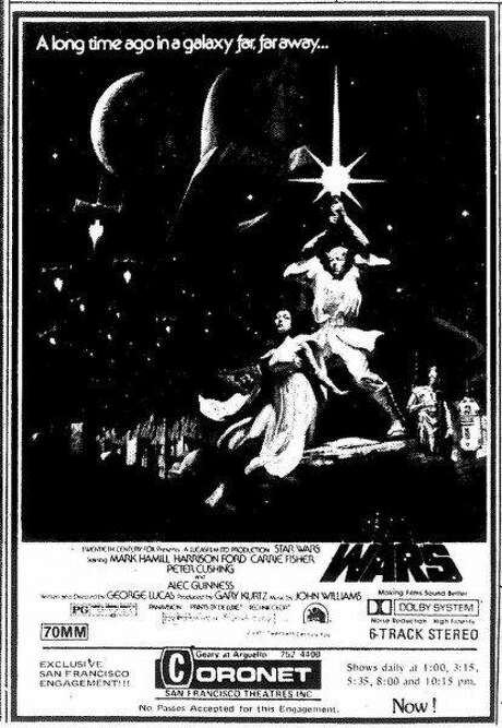 "A Chronicle ad featuring the movie poster for ""Star Wars"" when it opened at the Coronet Theatre in 1977. Photo: Chronicle"