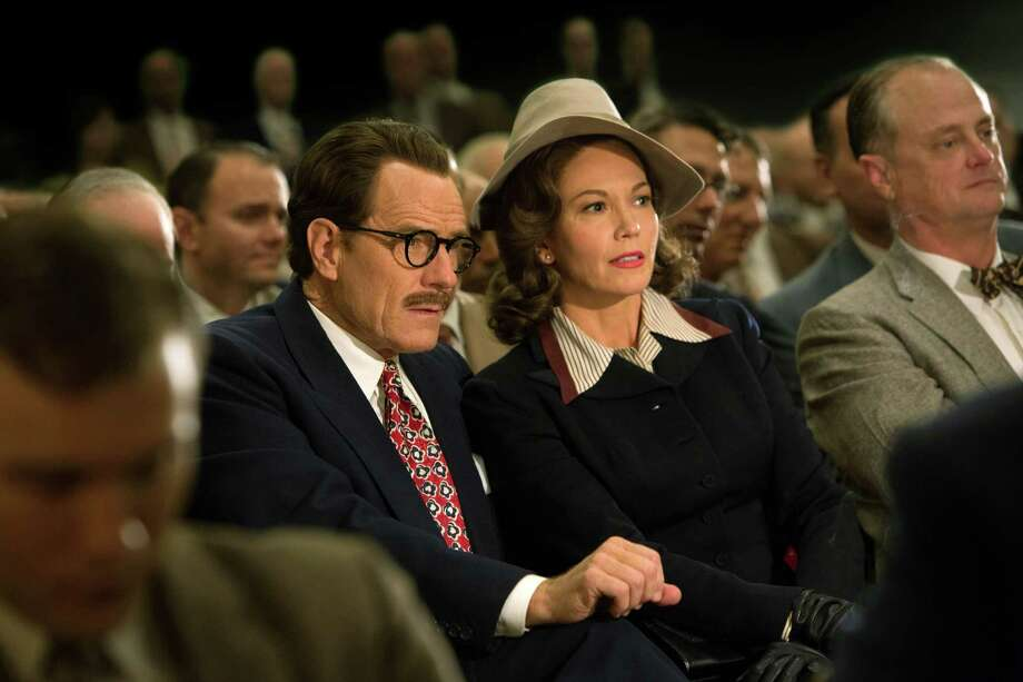 "Thisimage released by Bleecker Street shows Bryan Cranston as Dalton Trumbo, left, and Diane Lane as Cleo Trumbo in a scene from ""Trumbo.""  Director Jay Roach resurrects Hollywood's darkest chapter, when Dalton Trumbo and other screenwriters and directors were blacklisted by the studios after refusing to answer questions about their involvement with the Communist Party in a congressional committee investigation. (Hilary Bronwyn Gail/Bleeker Street via AP) ORG XMIT: NYET112 Photo: Hilary Bronwyn Gail / Bleecker Street"