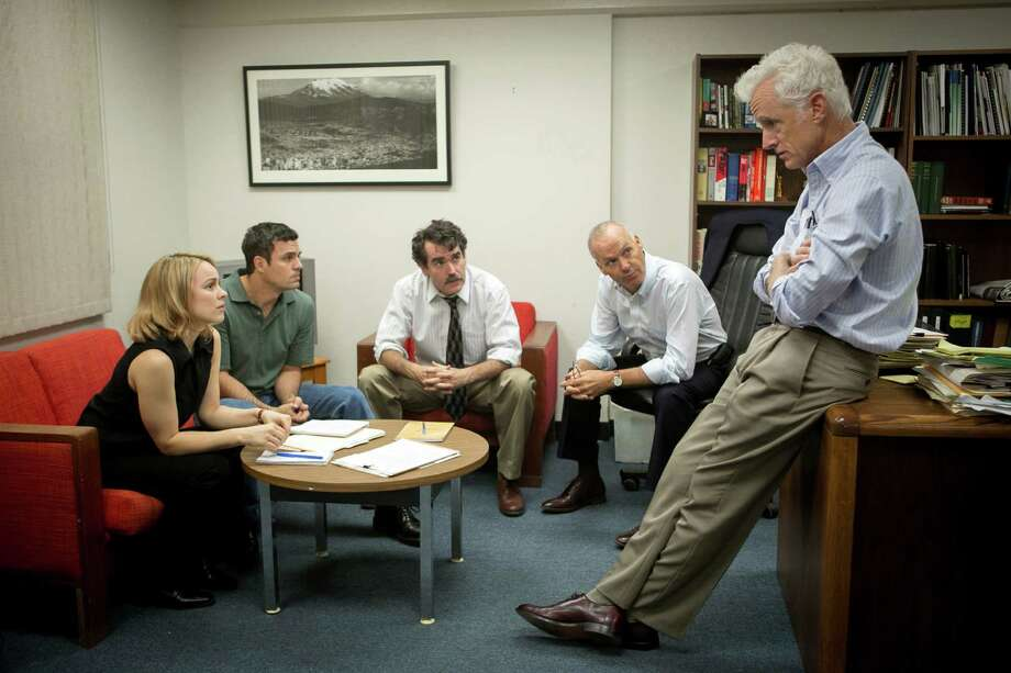 """This photo provided by courtesy of Open Road Films shows, Rachel McAdams, from left, as Sacha Pfeiffer, Mark Ruffalo as Michael Rezendes, Brian d'Arcy James as Matt Carroll, Michael Keaton as Walter """"Robby"""" Robinson and John Slattery as Ben Bradlee Jr., in a scene from the film, """"Spotlight."""" (Kerry Hayes/Open Road Films via AP) ORG XMIT: CAET776 Photo: Kerry Hayes / Open Road Films"""
