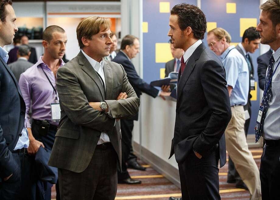 Mark Baum (Steve Carell, left) and Jared Vennett (Ryan Gosling, right) are characters based on real people who really saw the financial collapse coming — and made millions on it. Photo: Jaap Buitendijk