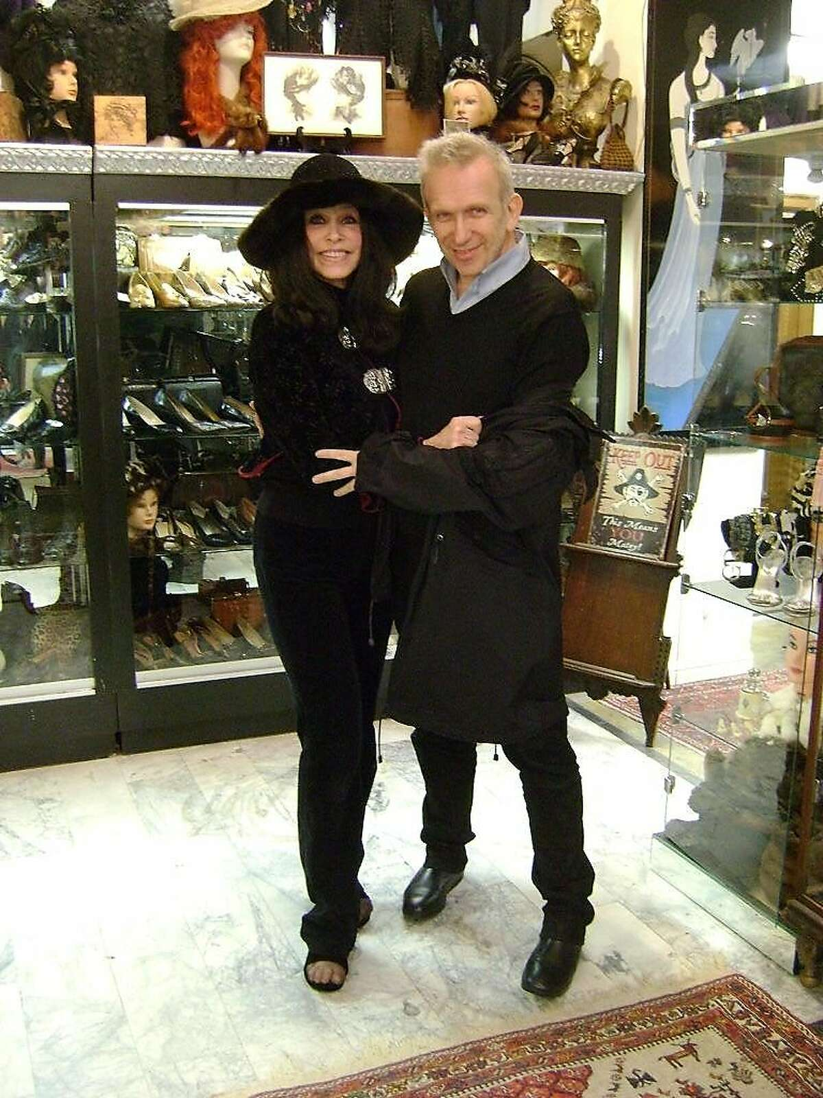 Decades of Fashion owner Cicely Hansen with fashion designer Jean Paul Gaultier at her store on Haight Street.