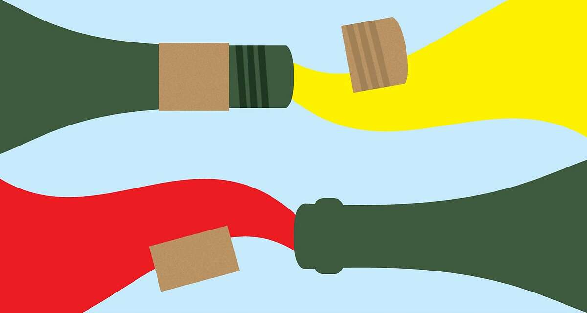 Dispelling the myth that screw cap wines cannot age as gracefully as wines with corks. Illustration by Christopher T. Fong / The Chronicle