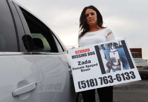 Rose VanAlstyne stands next to her car as she holds a poster for her missing dog, Zada, two weeks before the dog was found. (Will Waldron/Times Union) Photo: Will Waldron / 00034123A