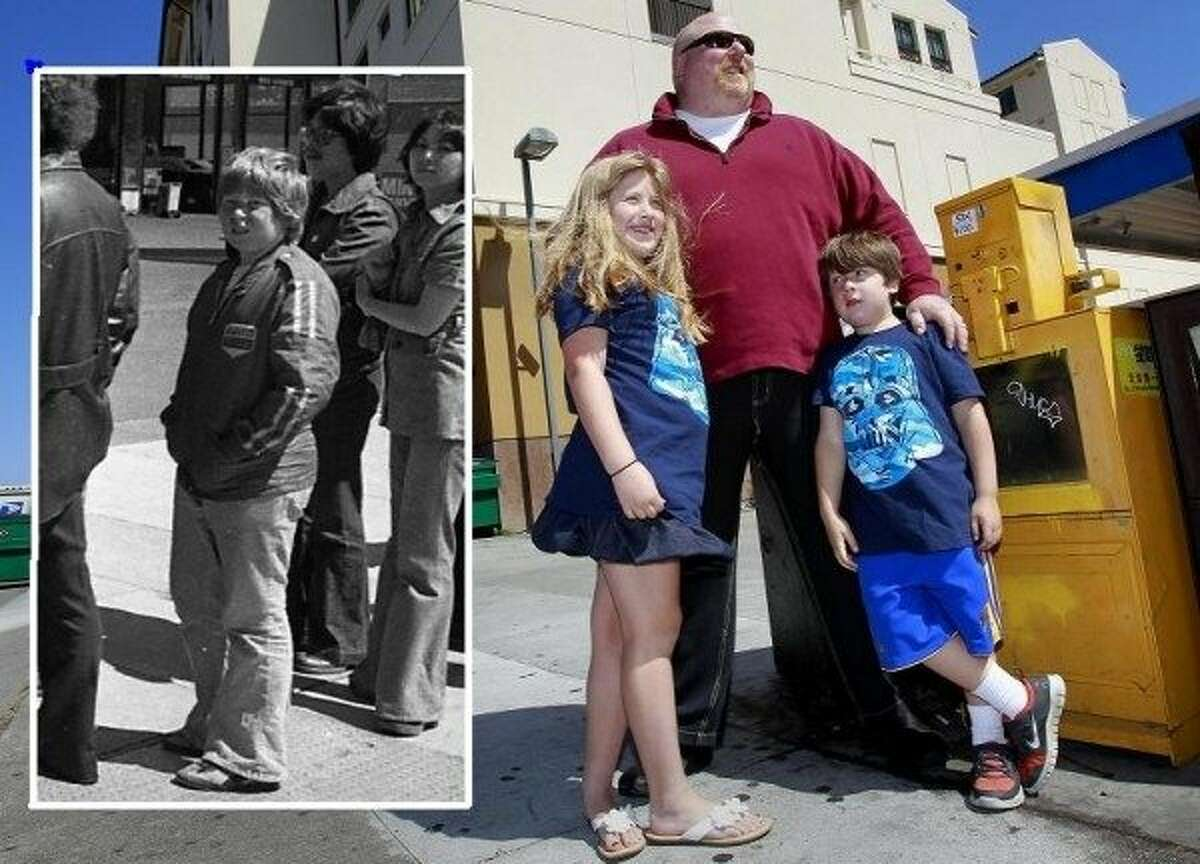 Michael Rhine in 1977 (left); Rhine with his children in 2013.