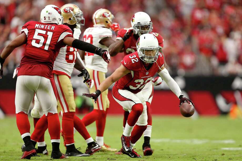 Cardinals safety Tyrann Mathieu celebrates his second interception in a 47-7 over the 49ers in September. Photo: Christian Petersen / Getty Images / 2015 Getty Images