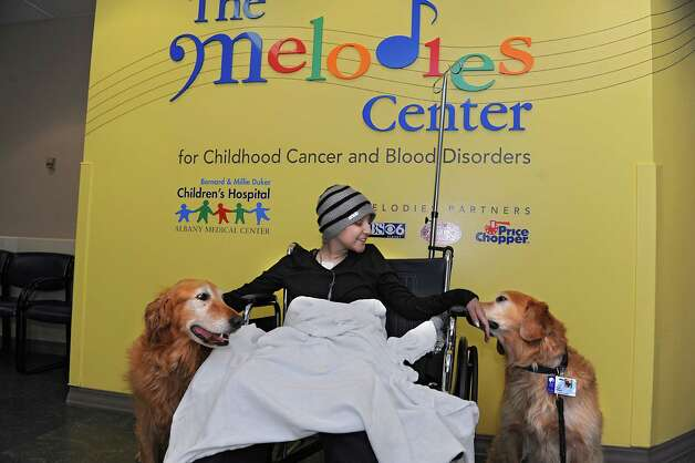 Reese Johnson, 14, of Ballston Spa pets therapy dogs Mac, left, and Riley at The Melodies Center in Albany Medical Center on Wednesday, Nov. 25, 2015 in Albany, N.Y.  (Lori Van Buren / Times Union) Photo: Lori Van Buren / 10034433A