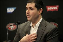 49ers' CEO Jed York during a press conference held to discuss the departure of Coach Jim Harbaugh and the beginning of a search for a new head coach at Levi Stadium, Santa Clara, Calif., December 29, 2014.