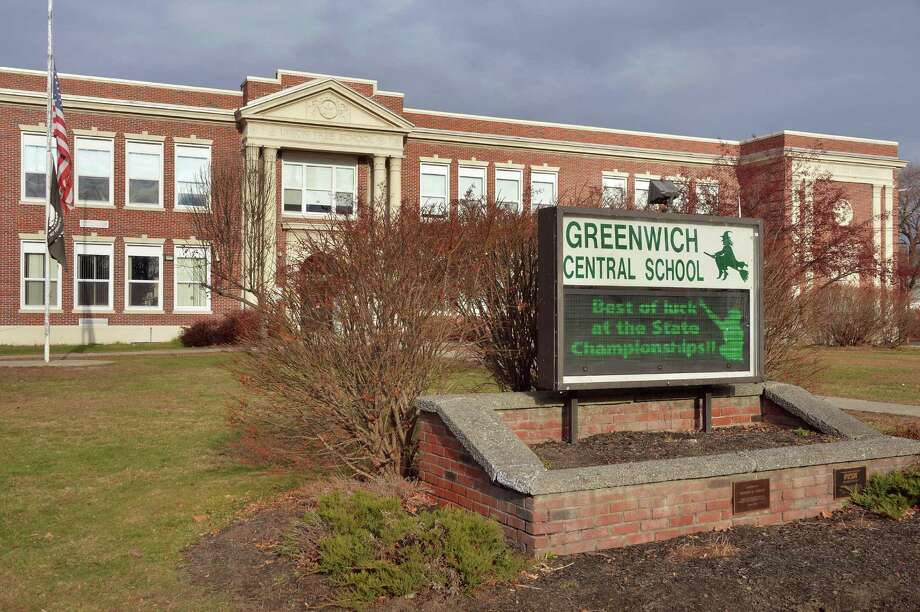 Sign at Greenwich Jr-Sr High School wishing their team good luck in the upcoming high school football state championships at the Carrier Dome in Syracuse Tuesday Nov. 24, 2015 in Greenwich, NY.  (John Carl D'Annibale / Times Union) Photo: John Carl D'Annibale / 10034414A