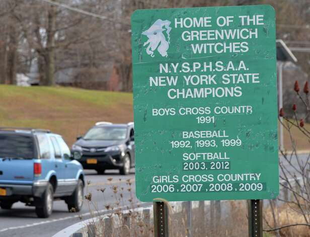 A roadside sign recognizing Greenwich High School sports teams along Route 29 Tuesday Nov. 24, 2015 in Greenwich, NY.  (John Carl D'Annibale / Times Union) Photo: John Carl D'Annibale / 10034414A