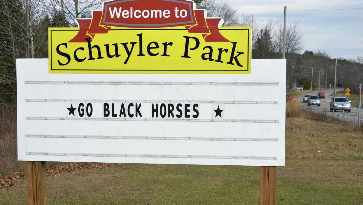 The entrance to Schuyler Park on Route 29, wishing The Schuylerville Black Horses good luck in their upcoming high school football state championships at the Carrier Dome in Syracuse Tuesday Nov. 24, 2015 in Saratoga Springs, NY. (John Carl D'Annibale / Times Union)