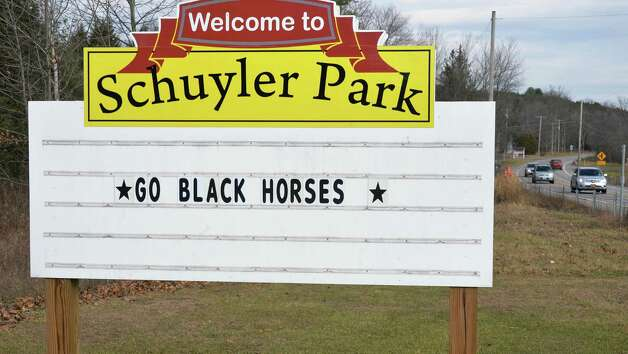 The entrance to Schuyler Park on Route 29, wishing The Schuylerville Black Horses good luck in their upcoming high school football state championships at the Carrier Dome in Syracuse Tuesday Nov. 24, 2015 in Saratoga Springs, NY.  (John Carl D'Annibale / Times Union) Photo: John Carl D'Annibale / 10034414A