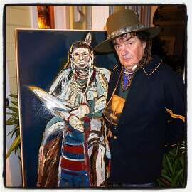 """Painter Ira Yeager strikes a pose for his art new book, """"Beyond the Reservation."""" Nov 2015"""