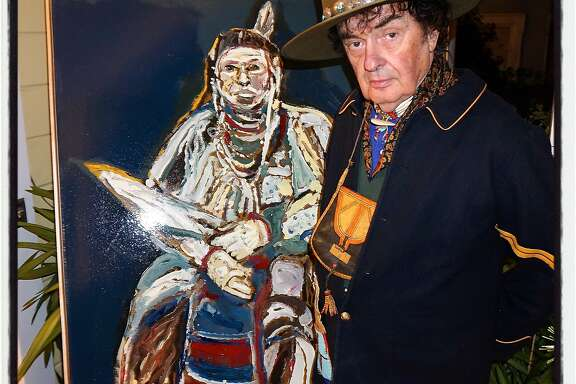 "Painter Ira Yeager strikes a pose for his art new book, ""Beyond the Reservation."" Nov 2015"