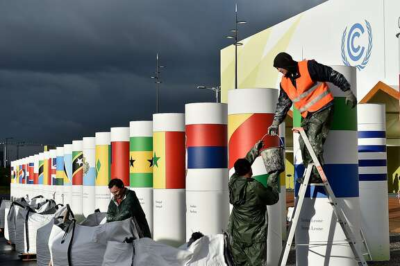 PARIS, FRANCE - NOVEMBER 25:  Workers make final preparations for the COP21, Paris Climate Conference site on November 25, 2015 in Le Bourget, France.  The 21st United Nations Conference on climate change will run from from November 30 to December 11. (Photo by Pascal Le Segretain/Getty Images)