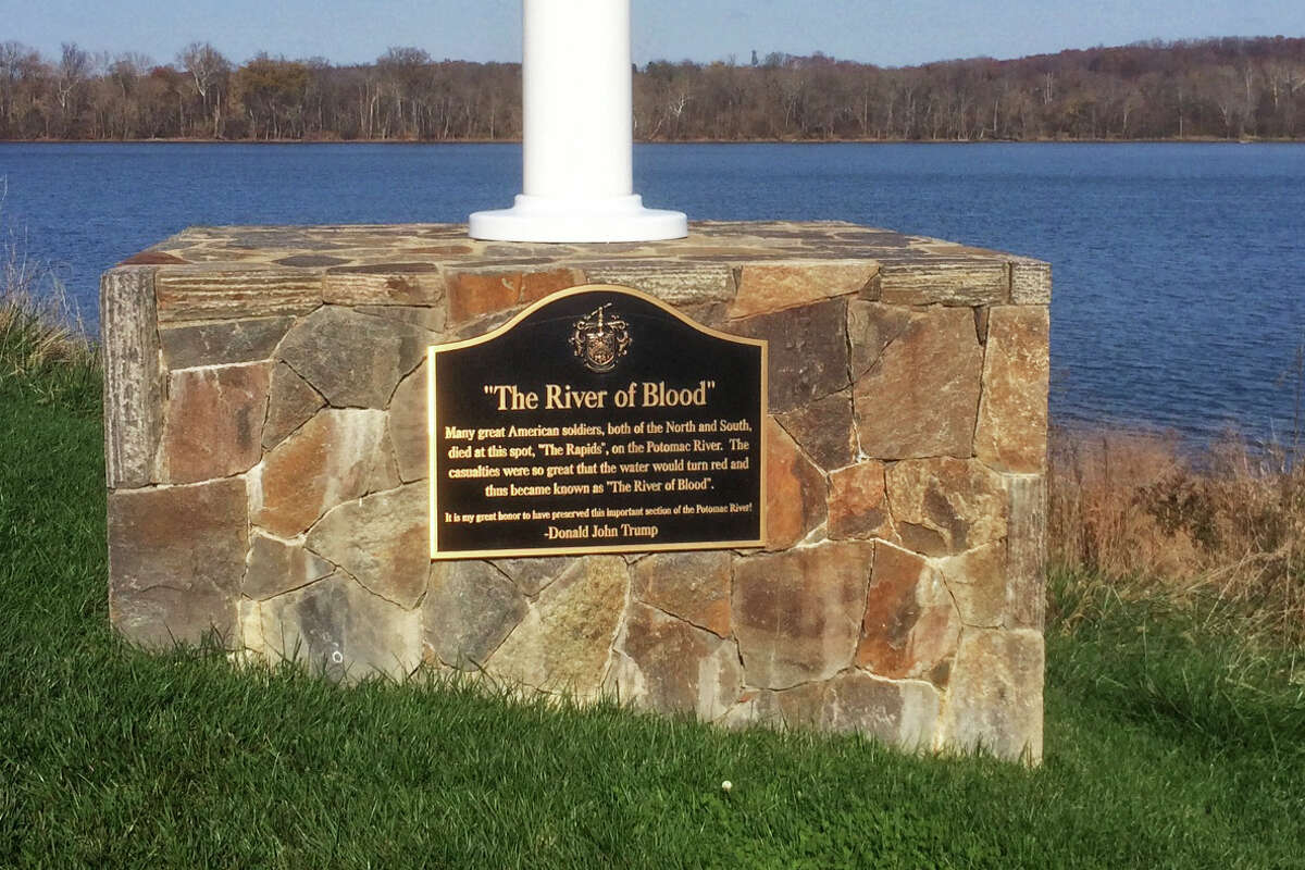 """A plaque at the Trump National Golf Club commemorates a stretch of the Potomac as the """"River of Blood."""" Trump defended it after local historians said it was inaccurate."""