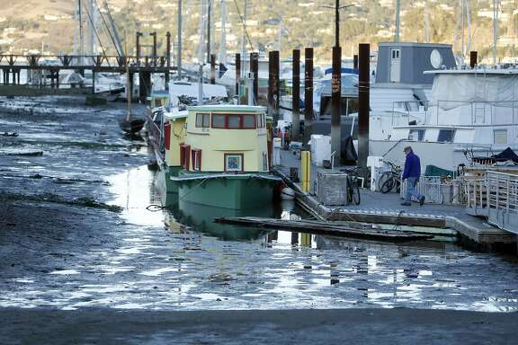 Low tide at Galilee Harbor in Sausalito, Calif., on Wednesday, November 25, 2015.