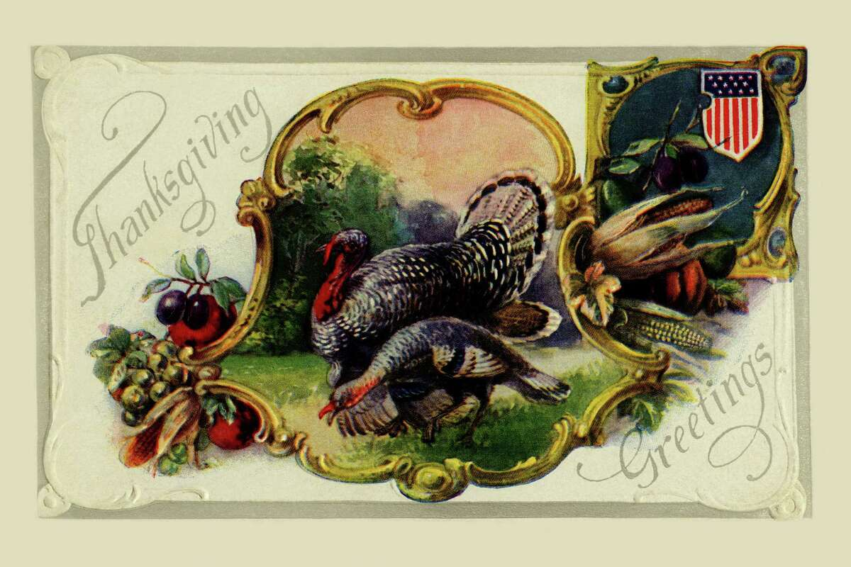 All the makings of a Thanksgiving dinner on this card, but it's not quite ready yet. (circa 1900)