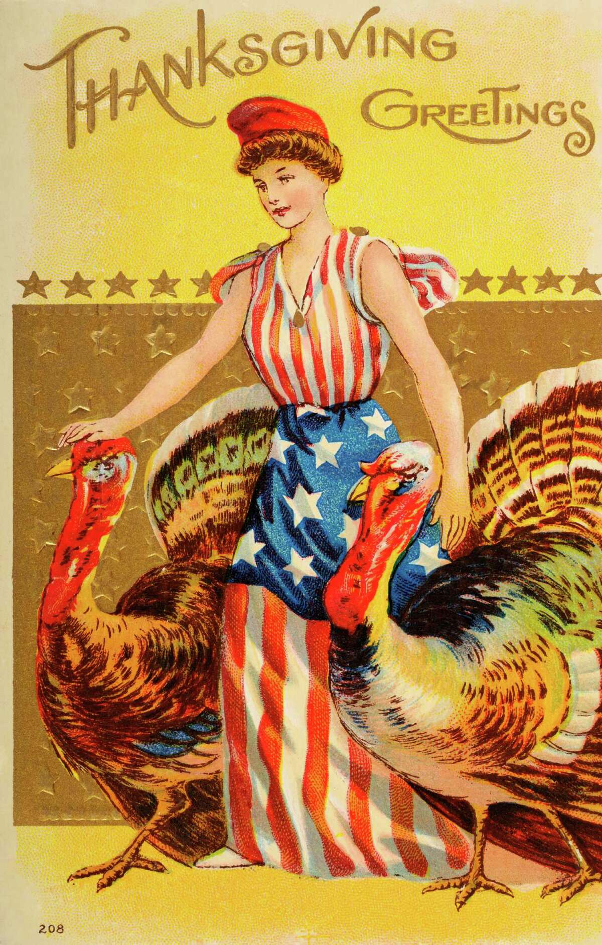 We suspect this Lady Liberty will not be liberating any turkeys today. (circa 1908)