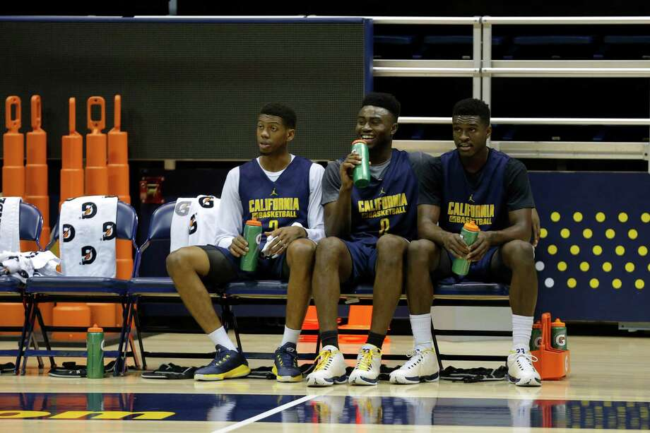 Tyrone Wallace (left), Jaylen Brown and Jabari Bird sit in-between drills during Cal Bears men's basketball practice in Berkeley, California, on Wednesday, Oct. 7, 2015. Photo: Connor Radnovich / The Chronicle / ONLINE_YES