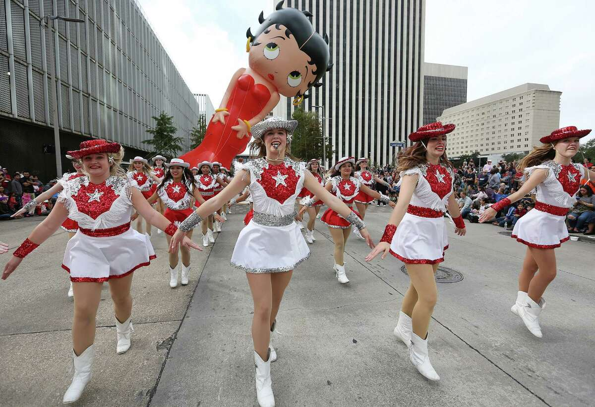 Betty Boop balloon makes its way down the parade route on Thursday, Nov. 26, 2015, in Houston.