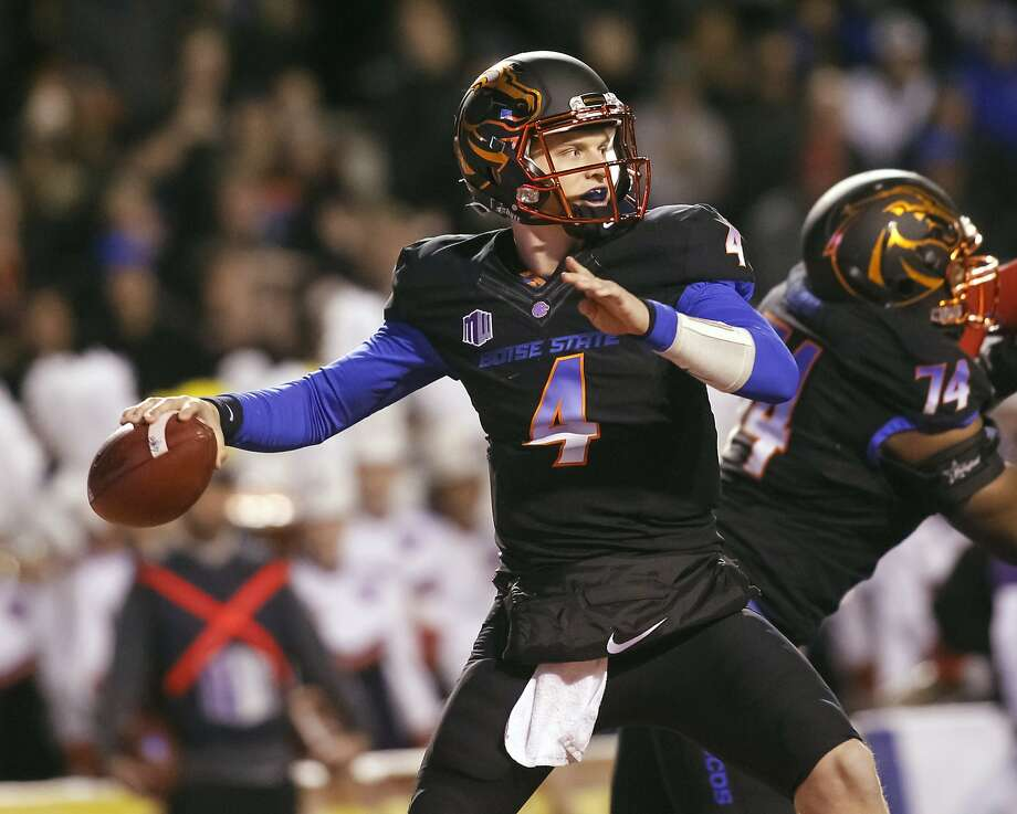 Boise State quarterback Brett Rypien (4) readies to throw a pass during the first half of an NCAA college football game against New Mexico in Boise, Idaho, on Saturday, Nov. 14, 2015. (AP Photo/Otto Kitsinger) Photo: Otto Kitsinger, Associated Press