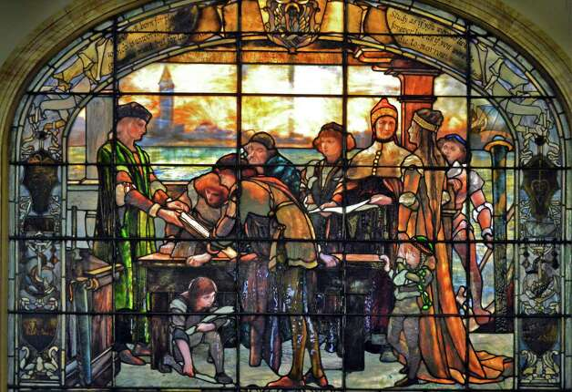 "A Tiffany window, ""House of Aldus"" in the lobby of theTroy Public Library on Second Street Friday Nov. 13, 2015 in Troy, NY.  (John Carl D'Annibale / Times Union) Photo: John Carl D'Annibale / 00034228A"