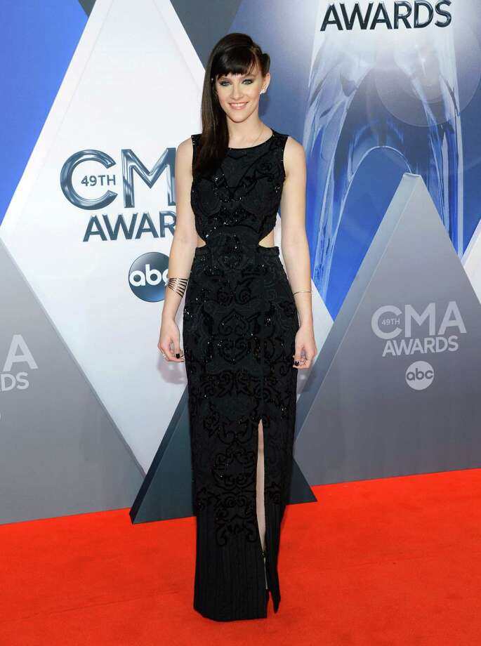 Aubrey Peeples arrives at the 49th annual CMA Awards at the Bridgestone Arena on Wednesday, Nov. 4, 2015, in Nashville, Tenn. (Photo by Evan Agostini/Invision/AP) ORG XMIT: TNDC102 Photo: Evan Agostini / Invision