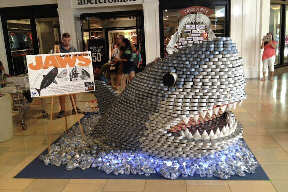 Mdn Architects' Jaws replica, made of 6,700 cans of tuna, won first place in the 10th annual Canstruction design competition at North Star Mall in September. Mdn employees reconstructed the shark in the San Antonio Food Bank lobby, where it will sit for the next year.