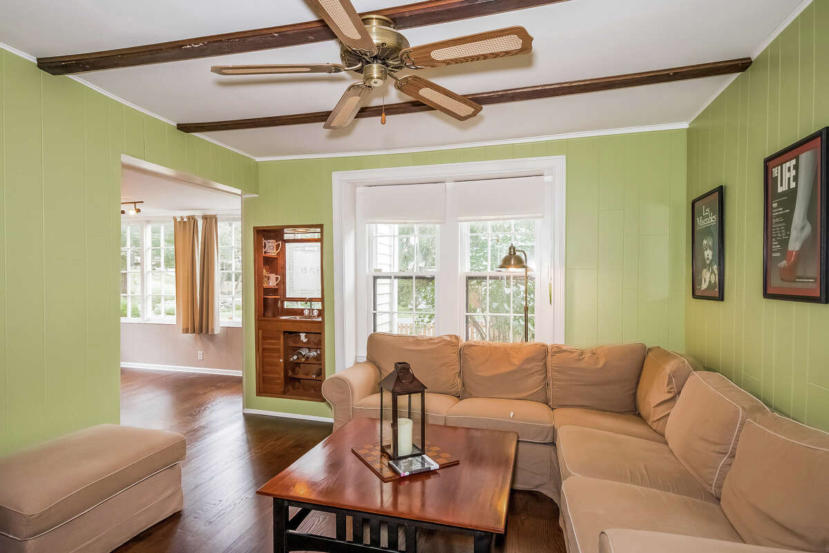 The home's family room has a recessed wet bar.