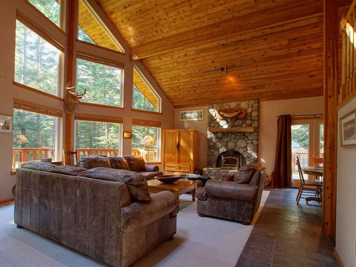 Living space in the home includes both views and a fireplace.