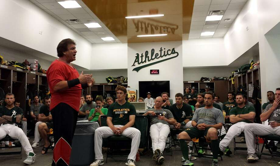 A's team chaplain Donnie Moore speaks to the A's during spring training in 2015. Photo: Courtesy Donne Moore, Courtesy Donnie Moore