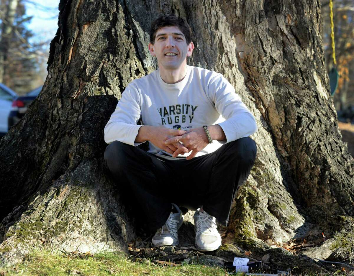 Brian Tomasulo, a Newtown resident who has brain cancer, has been using medical marijuana from the Compassionate Care Center in Bethel. Photo Monday, Nov. 23, 2015.