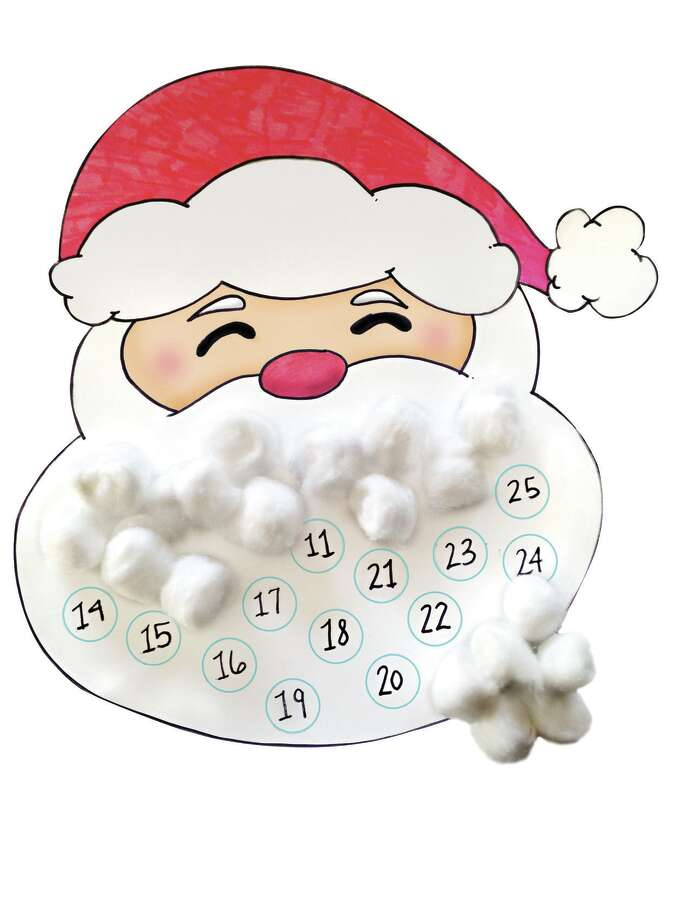 Cotton ball Santa advent calendar