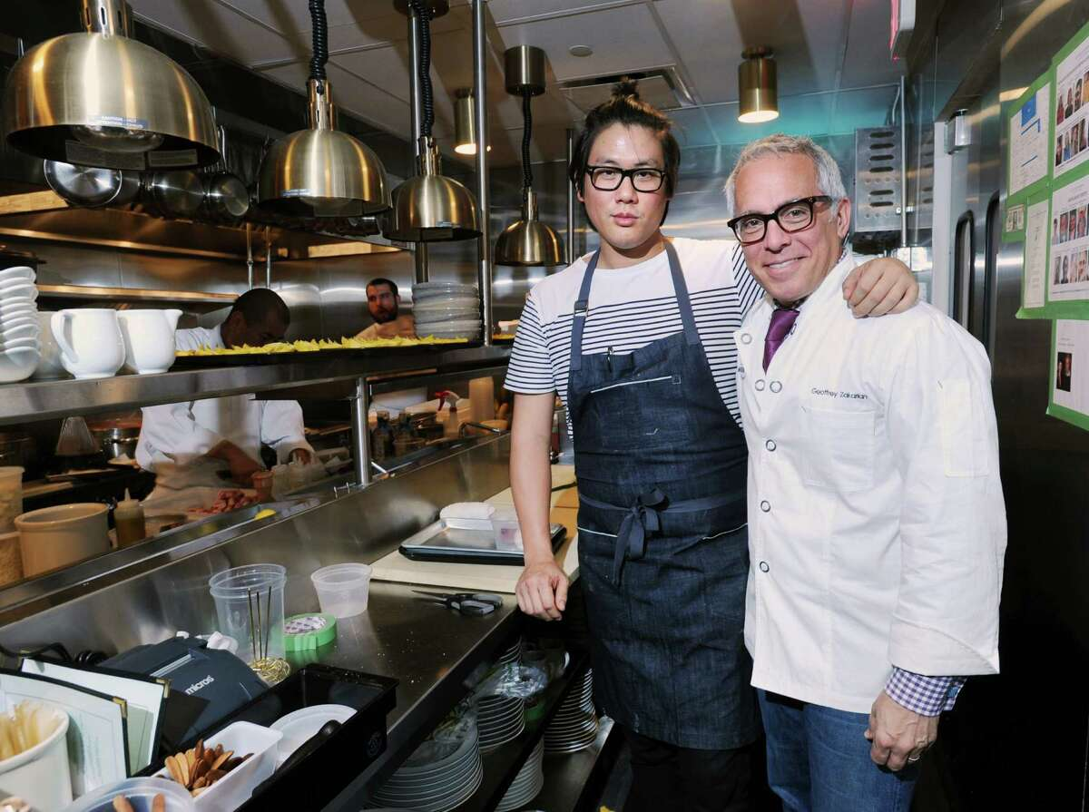 Geoffrey Zakarian, right, in his new Greenwich restaurant with fellow chef Eric Haugen, at The National.