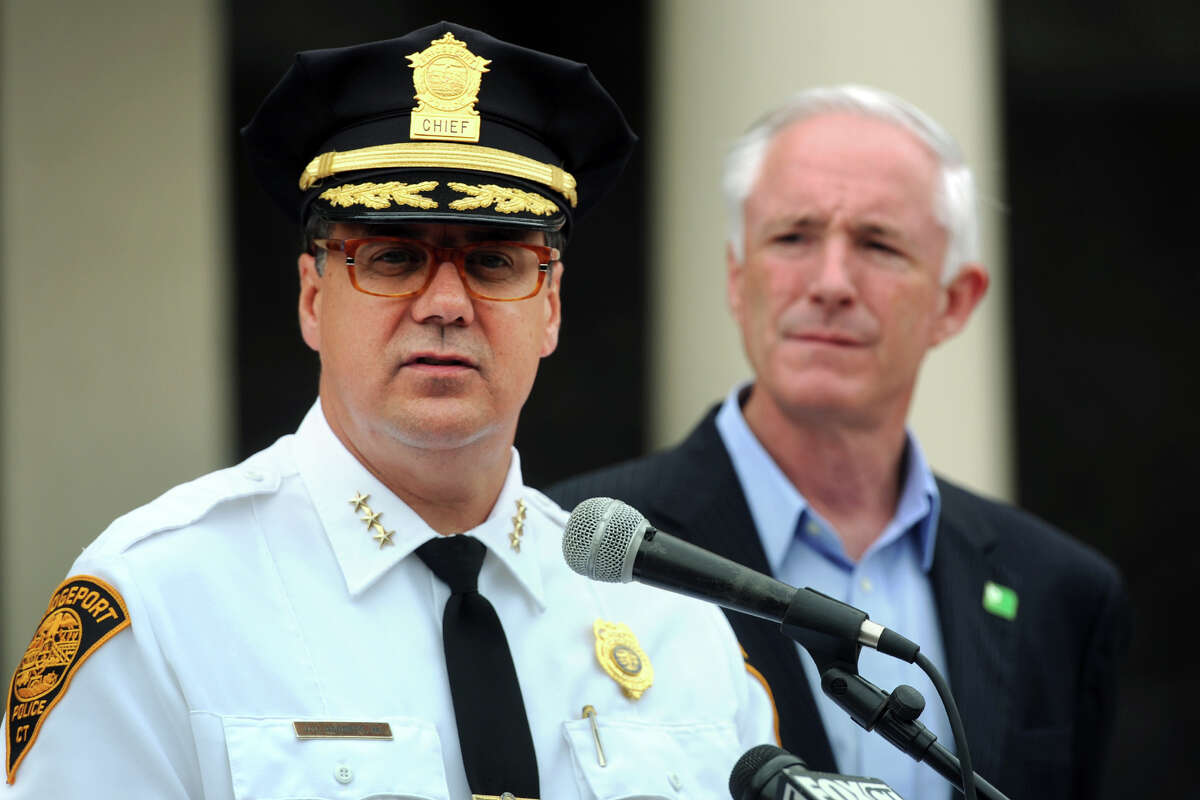 Bridgeport Police Chief Joseph Gaudett with Bridgeport Mayor Bill Finch at in 2014. Finch approved a five-year contract for the police chief.