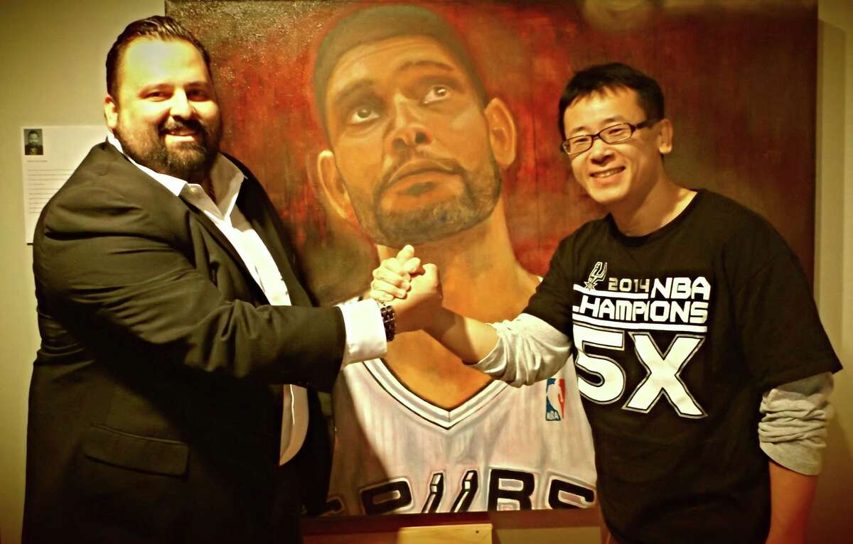 The native San Antonian said he spent three months creating each of the three portraits of Tim Duncan, Manu Ginobili and Kawhi Leonard, first using acrylic paint and then oil.