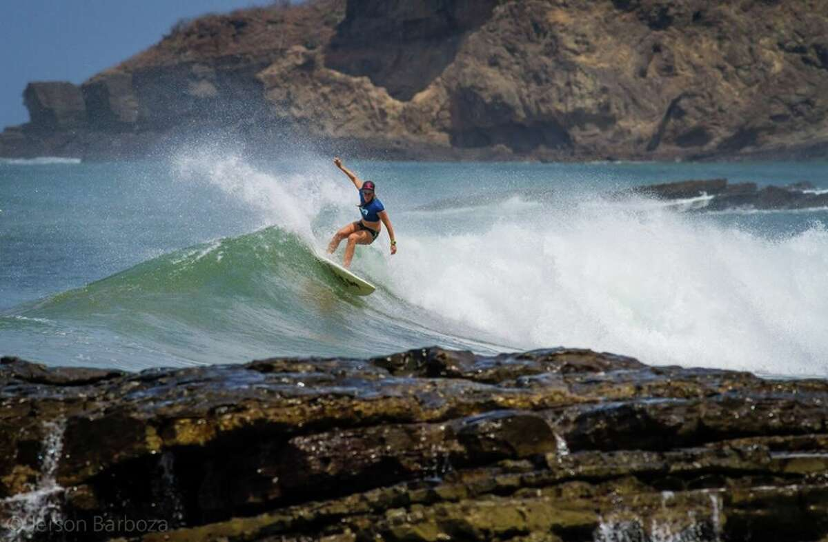 Houston native Ashley Blaylock surfing in Nicaragua, where she owns Chicabrava, a surfing camp for women.