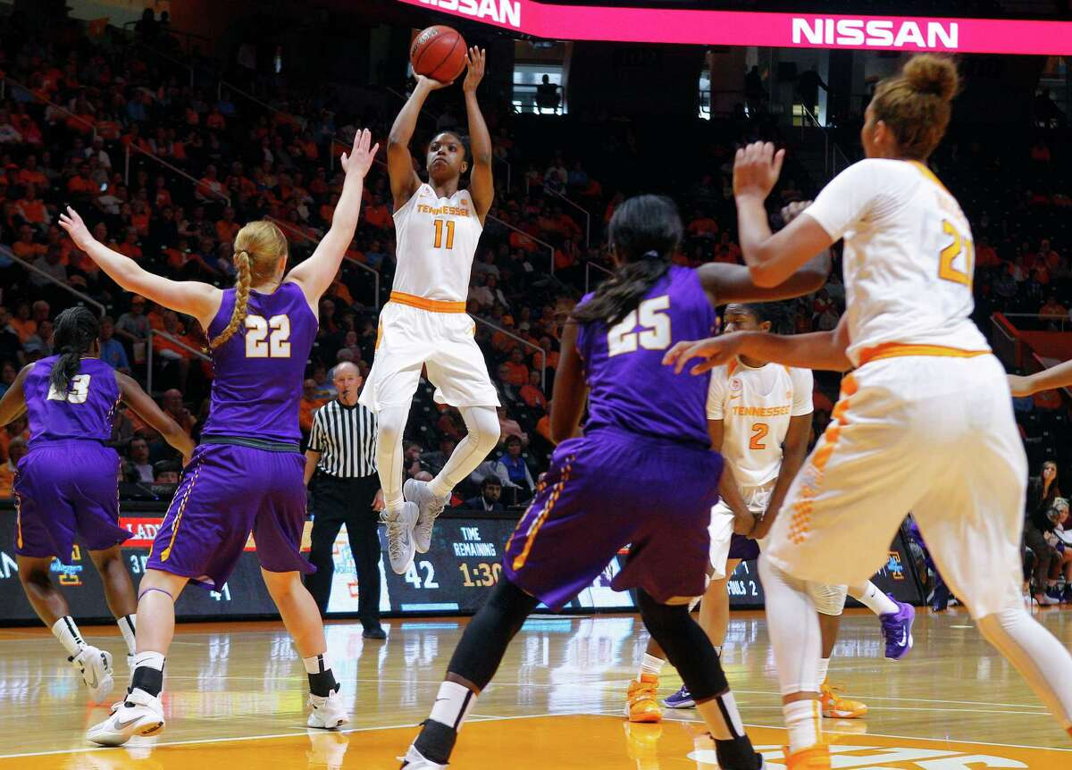 Tennessee guard Diamond DeShields (11) shoots over Albany forward Heather Forster (22) in the second first half of an NCAA college basketball game Friday, Nov. 27, 2015, in Knoxville, Tenn. Tennessee won 63-55. (AP Photo/Wade Payne) ORG XMIT: TNWP102