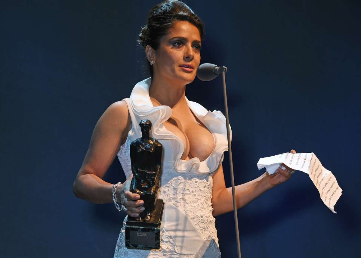 Salma Hayek presents the Beyond Theatre award at The London Evening Standard Theatre Awards in partnership with The Ivy at The Old Vic Theatre on November 22, 2015 in London, England.