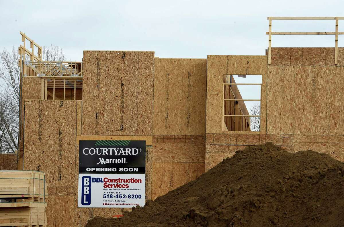 A new Courtyard Marriott is under construction on Plank Road near the Exit 9 interchange of Interstate 87 Nov. 27, 2015 in Clifton Park, N.Y. (Skip Dickstein/Times Union)