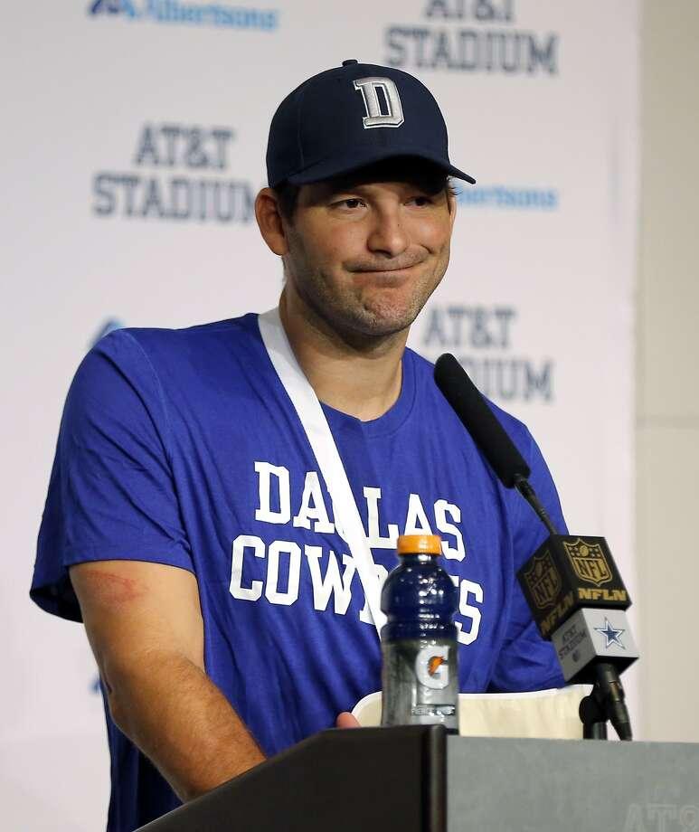 Dallas Cowboys quarterback Tony Romo attends a news conference after the Cowboys' 33-14 loss to the Carolina Panthers in an NFL football game Thursday, Nov. 26, 2015, in Arlington, Texas. (AP Photo/Brandon Wade) Photo: Brandon Wade, Associated Press
