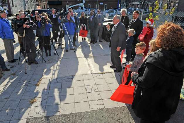 Mayor Lou Rosamilia speaks during a Troy is open for business holiday ceremony on Wednesday Nov. 25, 2015 in Troy, N.Y. (Michael P. Farrell/Times Union) Photo: Michael P. Farrell / 10034429A