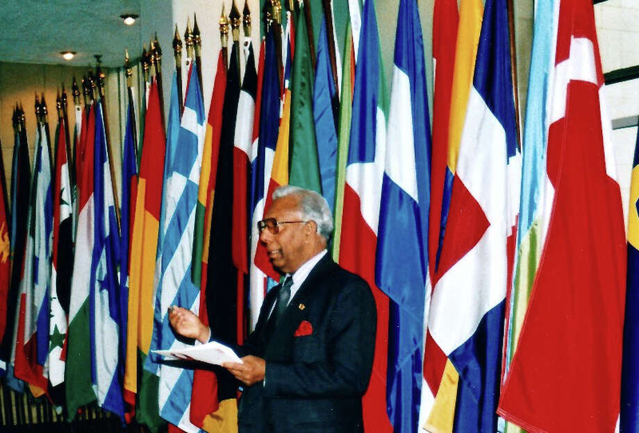 Somar Wijayadasa at the World Aids Day at the United Nations in New York in 1998. Photo: Contributed Photo / Stamford Advocate  contributed