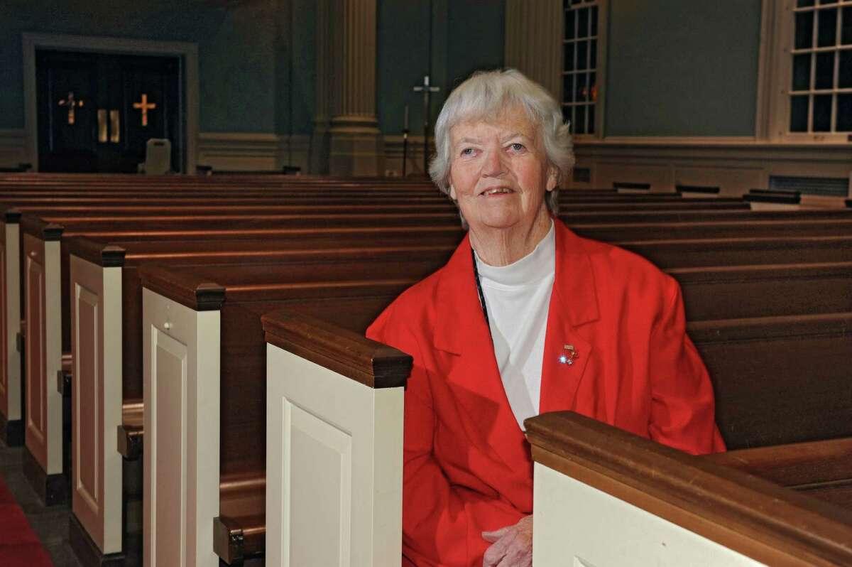 Rita Larum sits in a pew at First Lutheran Church on Monday, Nov. 16, 2015 in Albany, N.Y. (Lori Van Buren / Times Union)
